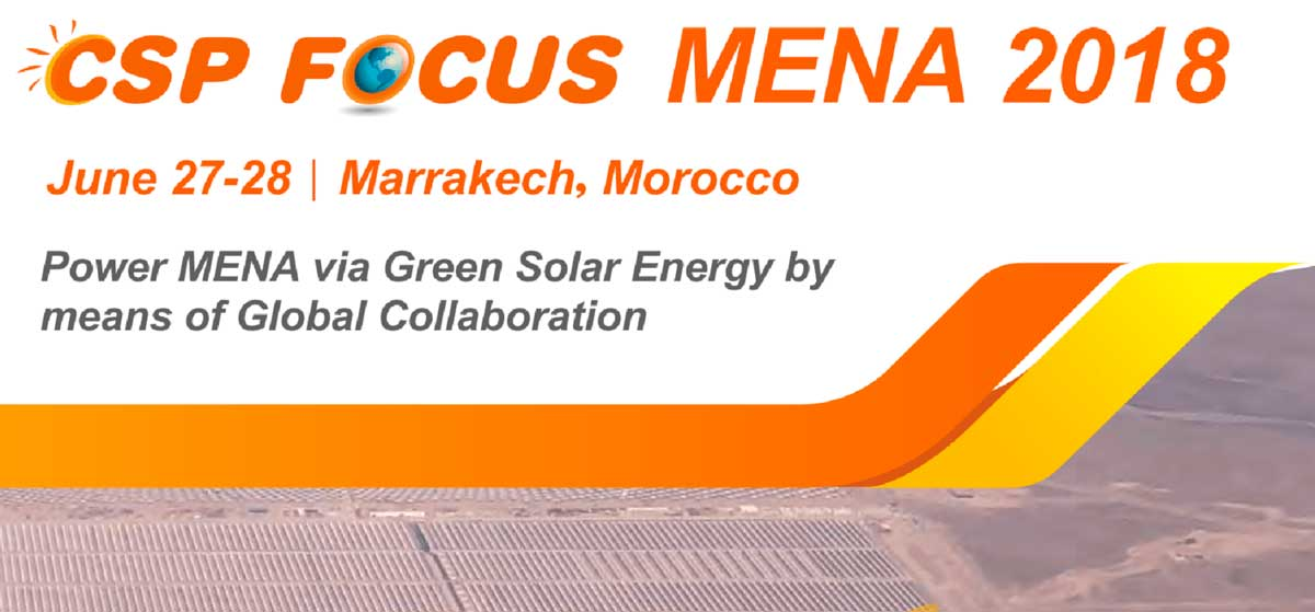 CADE to participate as speaker in the CSP FOCUS MENA 2018, next June 27-28 in Marrakech Marocco