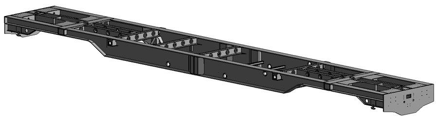 Bastidor ferroviario utilizado en las simulaciones con modelo de elementos finitos