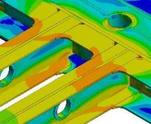 detalle del model modelo de elementos finitos (distribución de tensiones sin considerar el sistema de suspensión)