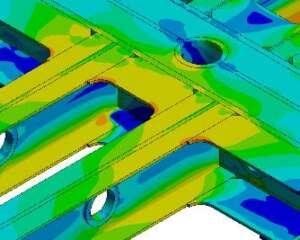 Detalle del modelo de elementos finitos (distribución de tensiones considerando el sistema de suspensión)